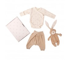 baby gift set - body, velour pants, bunny comforter with dummy holder